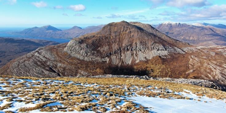 Mountains, Scotland, Meall a Ghiubhais from Ruadh Stac Beag. Loch Maree, Beinn Airigh Charr and Slioch behind
