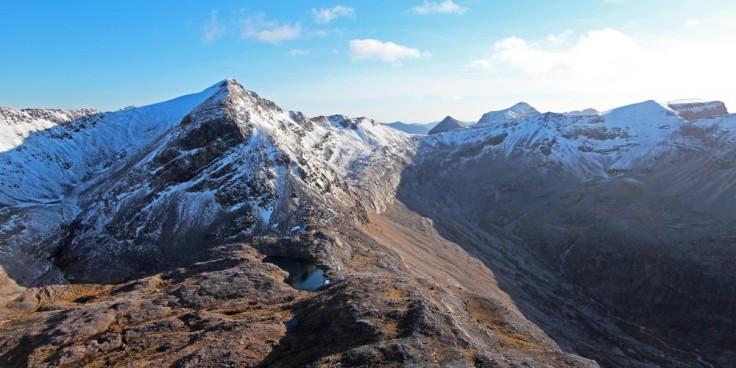 Scotland, Mountains, Sun, Snow, Spidean Coire nan Clach, Beinn Eighe, with Coinneach Mhor across Coire Ruadh-staca. Liathach in the background.