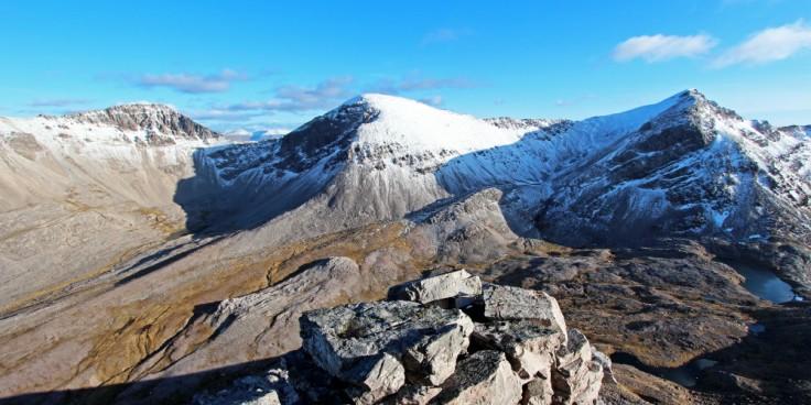 Scotland, Mountains, Toll Ban, Sgurr nan Fhir Duibhe, Sgurr Ban and Spidean Coire nan Clach, Beinn Eighe from Ruadh-stac Beag