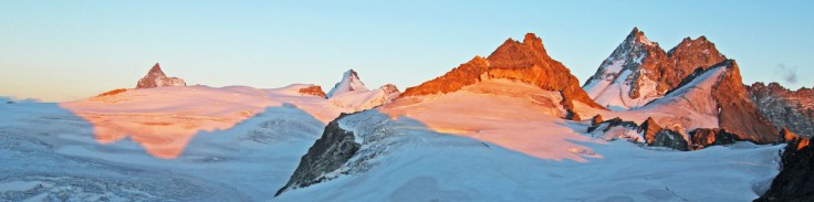 Photo of An evening panorama from the Cabane de Bertol with the Matterhorn, Tete Blanche, Dent d'Herens, Dents de Bertol and Bouquetins visible