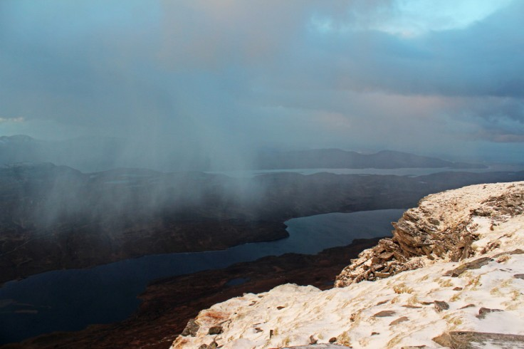 Photo of a hail shower moving south east over Loch Hope towards Ben Hope as late aftermoon gloom gathers