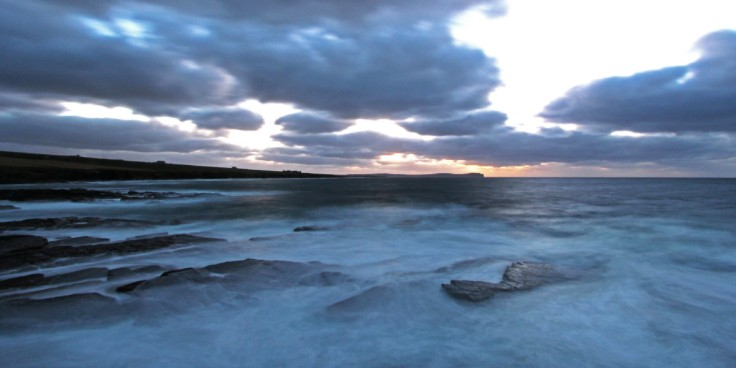 photo of a long exposure view along the Caithness coast of the Pentland Firth. Taken from St John's Point towards Dunnet Head