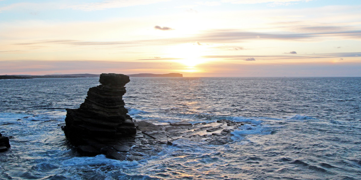 Photo of sunset over Dunnet Head, the most northerly point of the British mainland.