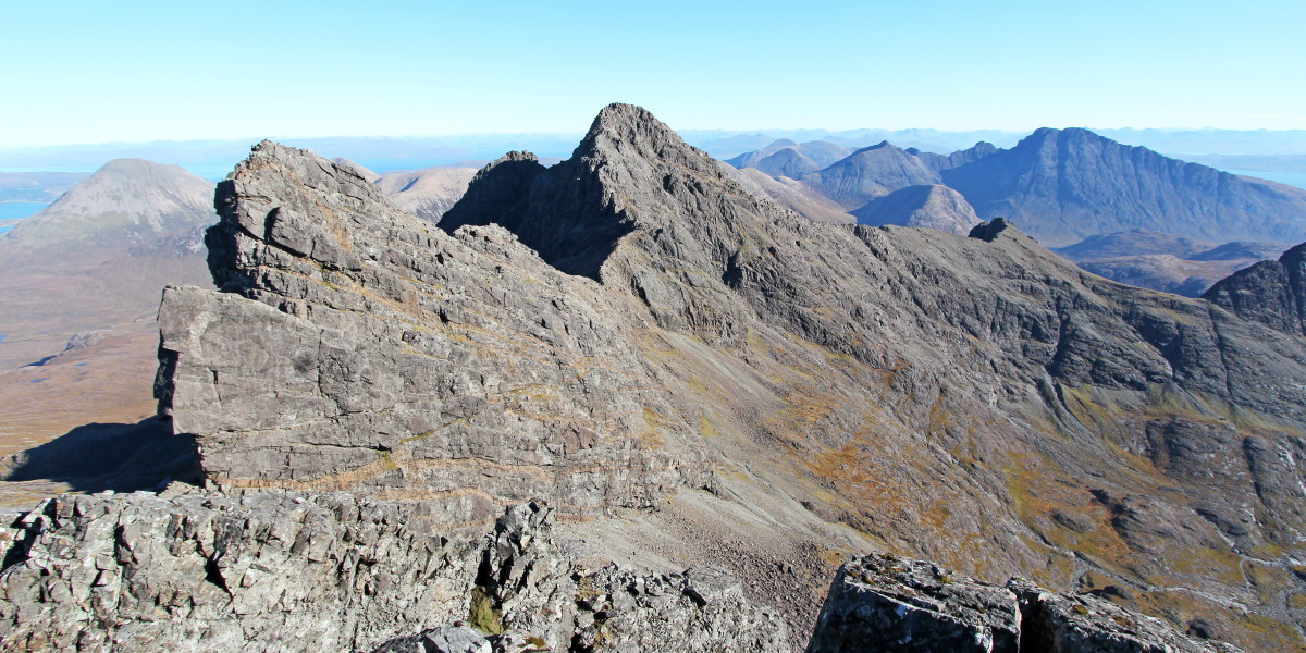Photo of the Bhasteir Tooth, Am Basteir & Sgurr nan Gillean at the spectacular north end of the Black Cuillin ridge