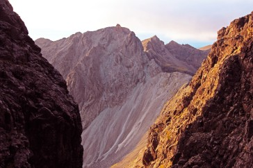 Photo of Sgurr Dearg and the Inaccessible Pinnacle in evening light from the Great Stone Chute below Sgurr Alasdair