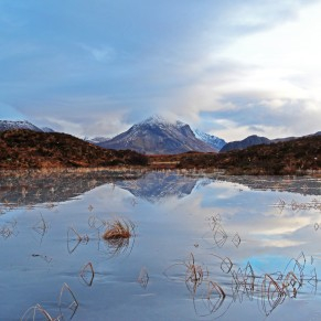 Photo of Marsco, a Cuillin outlier, reflected in pools between Sligachan and Glen Drynoch during a winter thaw
