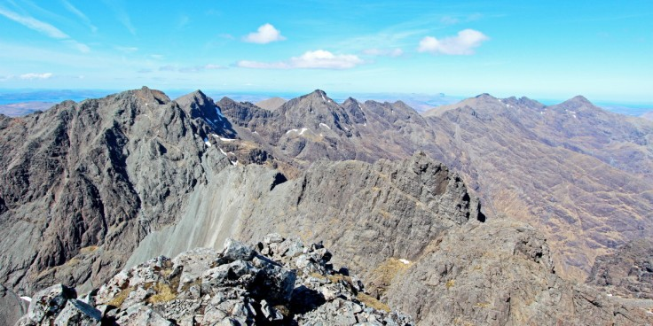 Photo of the view north along the Black Cuillin ridge from Skye's highest peak Sgurr Alasdair. Sgurr Dearg and the Inaccessible Pinnacle are prominent on the left.