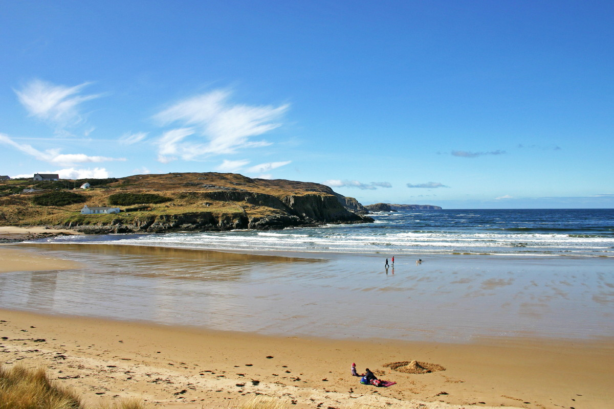 Photo of April sunshine on a chilly picnic at the beautiful beach at Farr Bay, Bettyhill