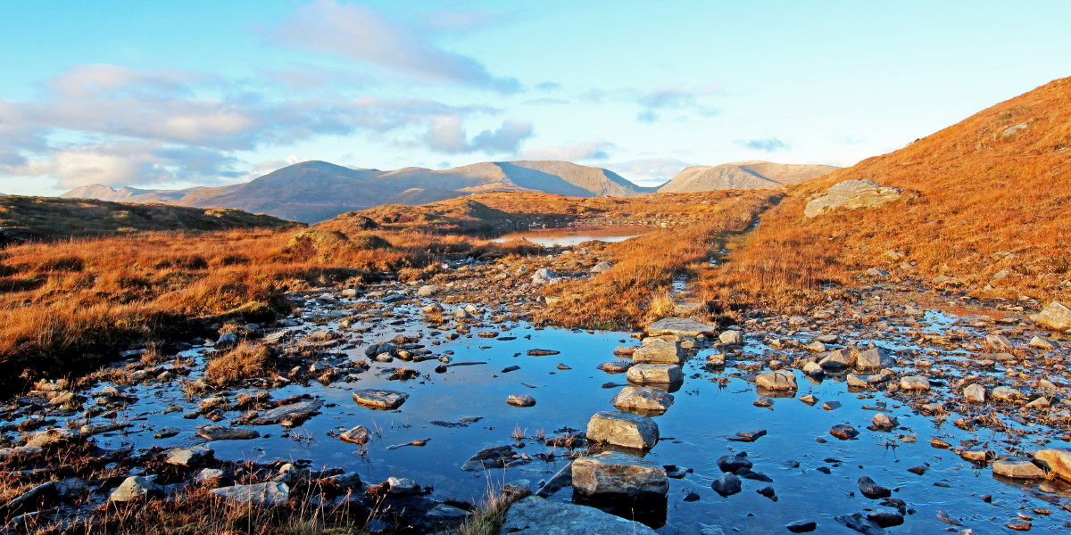 Photo of late afternoon on an autumn descent from Beinn Leoid and Meallan a' Chuail to the A838 Laxford to Lairg road