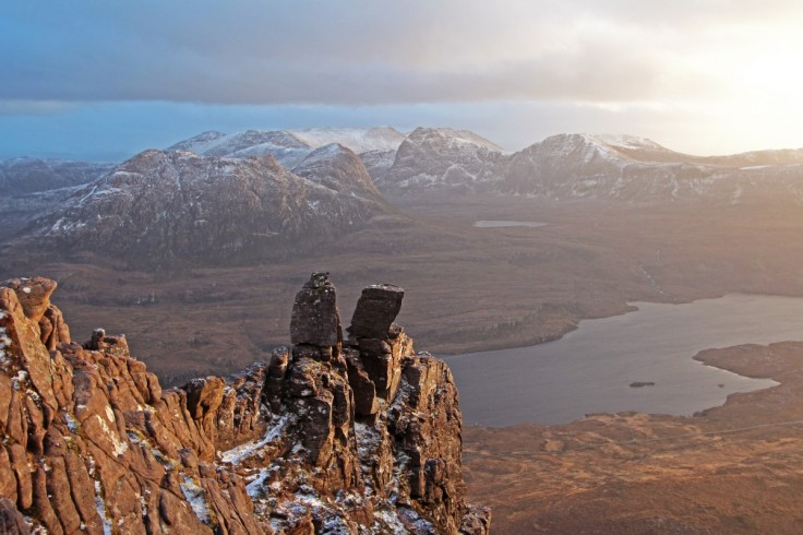 Photo of a late winter evening view of Ben Mor Coigach from Stac Pollaidh