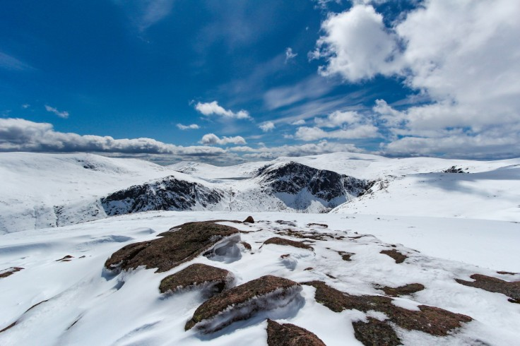Photo of a view across the Loch Avon basin to Beinn Mheadhoin left, Loch Etchachan, Carn Etchachan and Ben Macdui