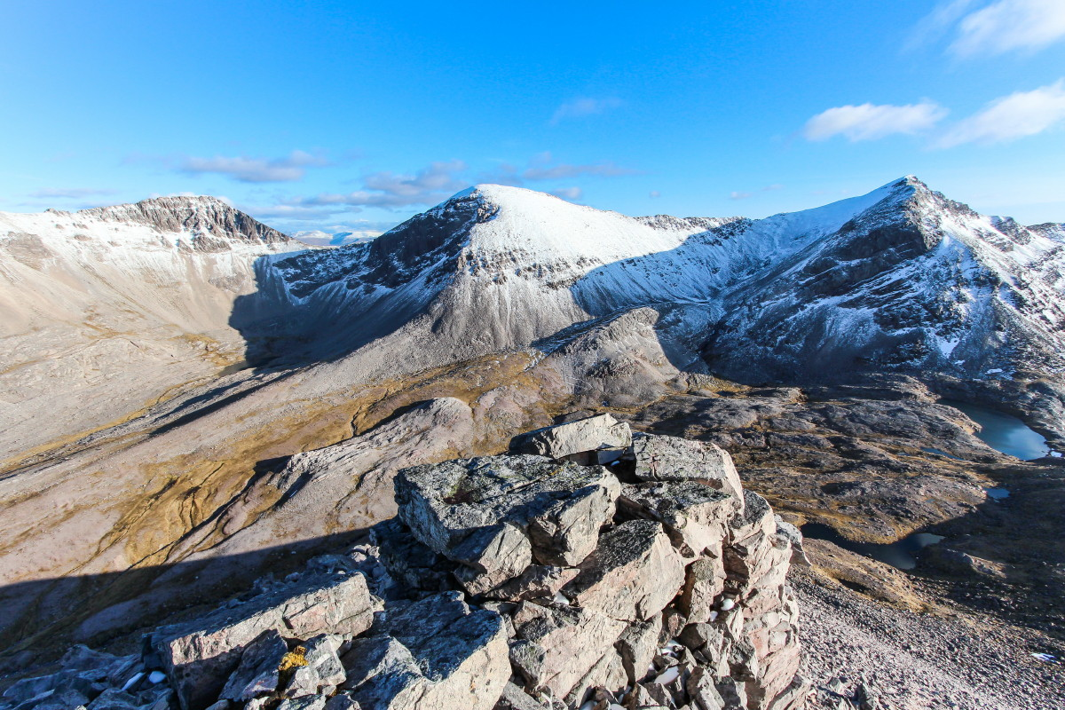 Photo of the eastern peaks of Beinn Eighe, Sgurr nan Fhir Duibhe, Sgurr Ban and Spidean Coire nan Clach from the Corbett Ruadh-stac Beag on a stunning spring evening