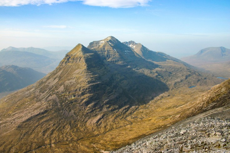 Photo of the mighty Torridon peak of Liathach seen to good effect from the western ridge of Spidean Coire nan Clach, Beinn Eighe