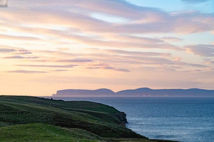 Photo of the Orkney island of Hoy from above Scrabster lighthouse on the path towards Holburn Head