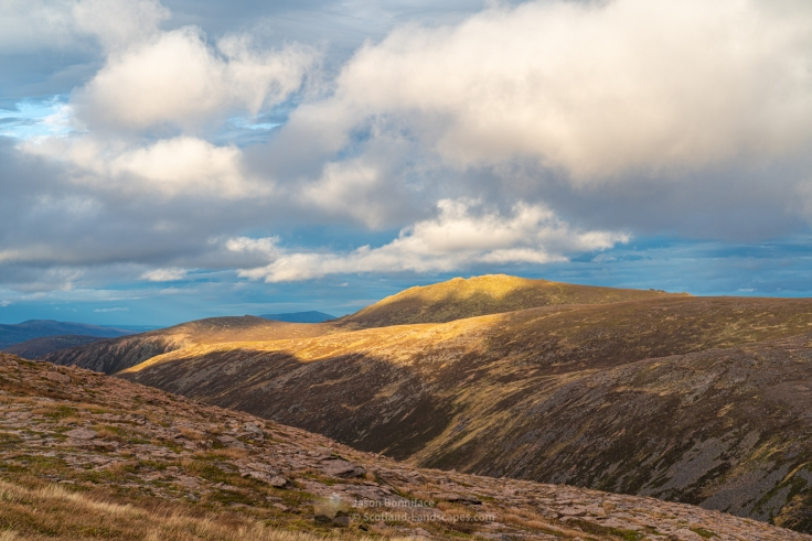 Photo of late afternoon sunlight on Bynack More