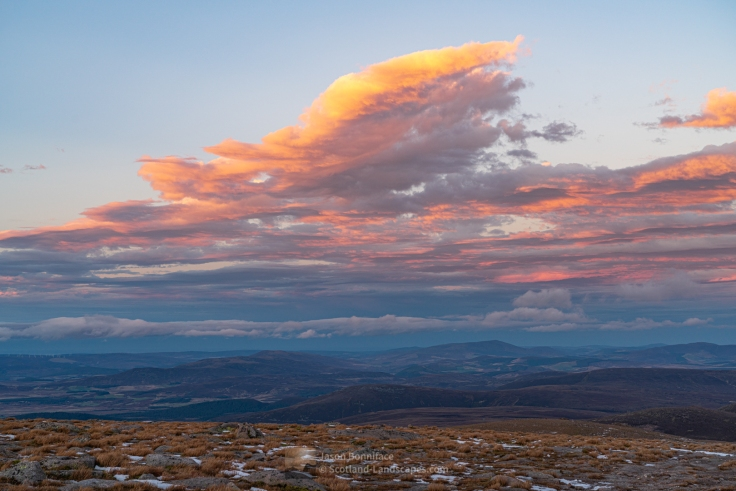 Photo of a north easterly view to the Hills of Cromdale and Ben Rinnes from the summit of Cairngorm
