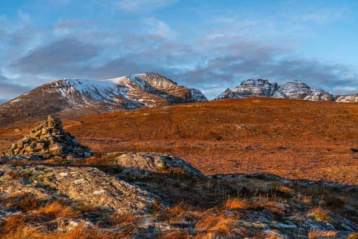 Morning sun on the Toll an Lochain peaks of An Teallach
