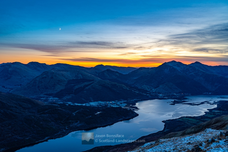 Sunset Afterglow Over Glencoe and Ballachulish