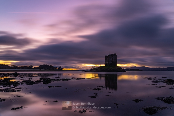 Sunset, Castle Stalker, Loch Linnhe and Mull, Lochaber
