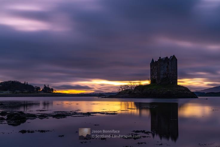 Sunset, Castle Stalker, Loch Linnhe and Mull