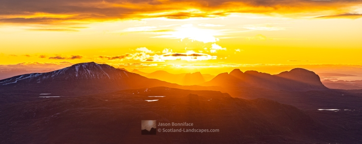 Assynt Setting Sun, Canisp, Stac Pollaidh and Suilven - A Panorama, Assynt & Ullapool